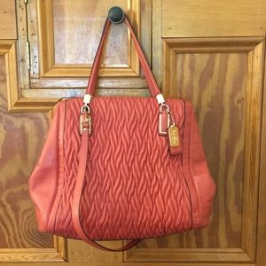 Coach rouched leather shoulder bag in coral